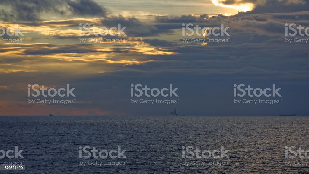 Oil rigs in Mexican gulf stock photo