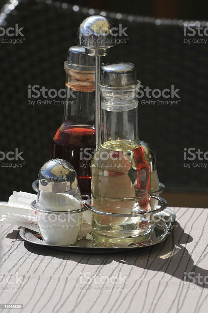 Oil, Salt, vinegar and pepper royalty-free stock photo