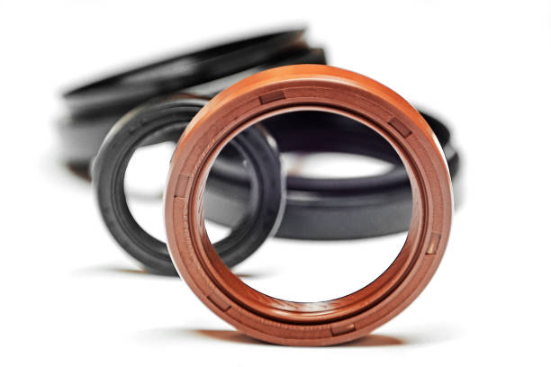 Oil seal with shallow depth of field stock photo