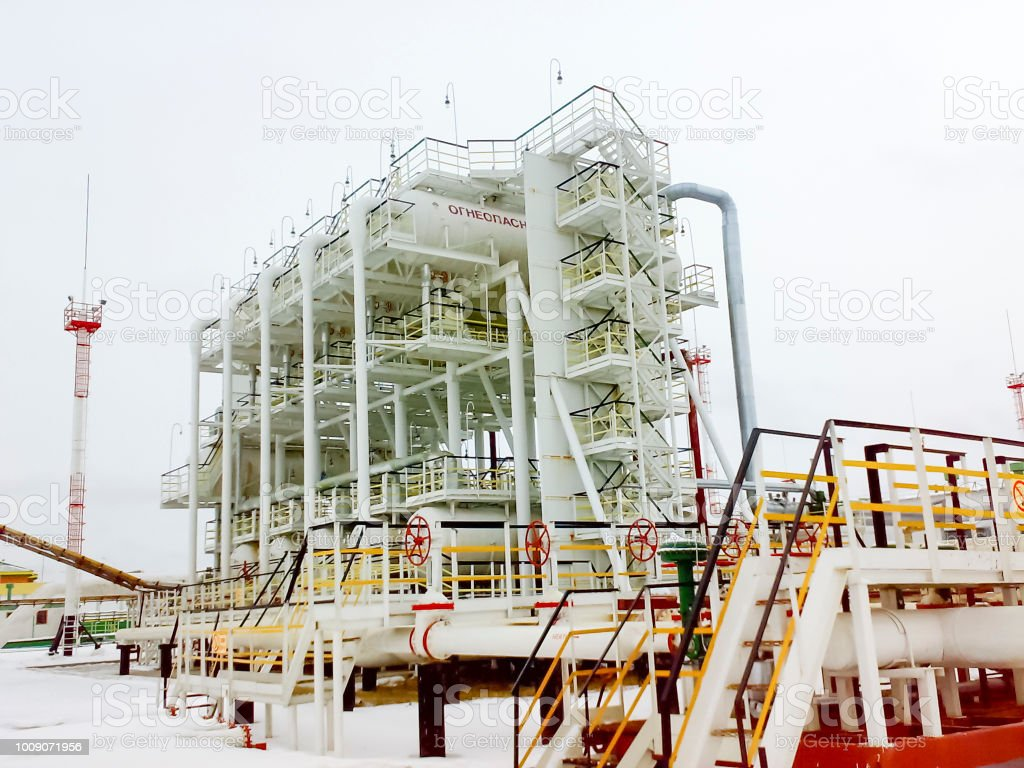 Oil separation unit. The primary separation stage and the final stage...