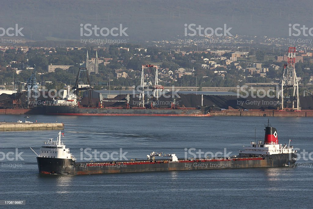 Oil ship passing by Quebec City po stock photo