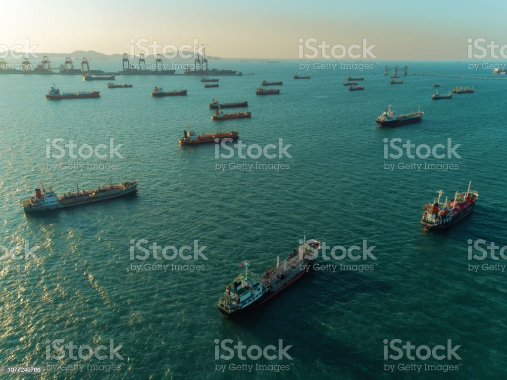 Oil Ship tanker or gas LPG park on the sea waiting for unload to...