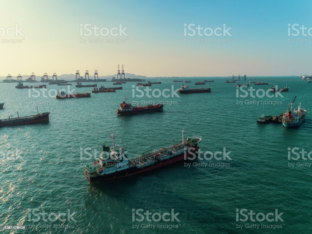 Oil Ship tanker or gas LPG parking on the sea waiting for unload to...