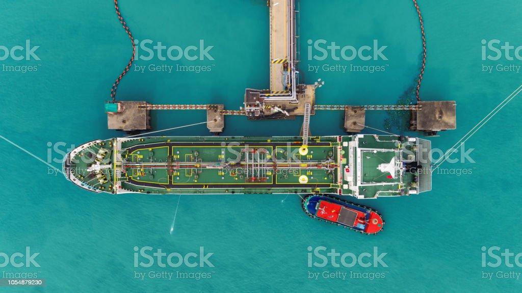 Oil ship tanker park to port for transfer crude oil to oil refinery.