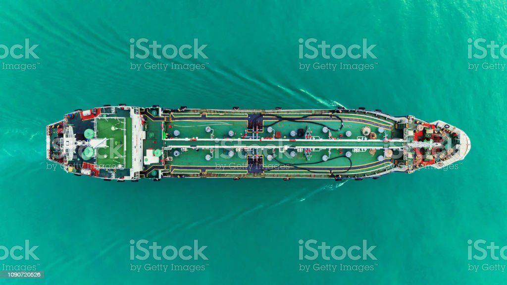 Aerial top view Oil ship tanker transportation crude oil from...