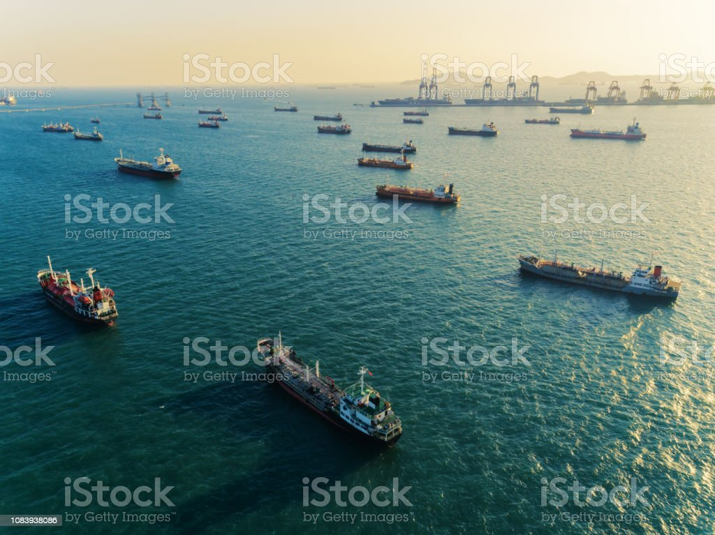 Oil ship tanker transportation crude oil park on the sea waiting...
