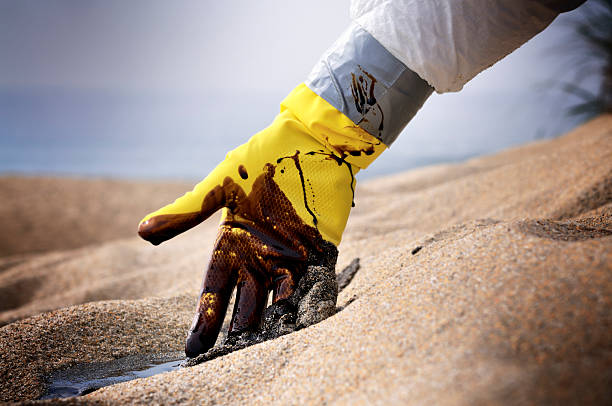 Oil Spill: A Situation Beyond Control stock photo