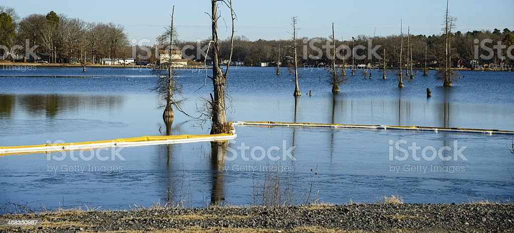 Oil spill containment boom stock photo