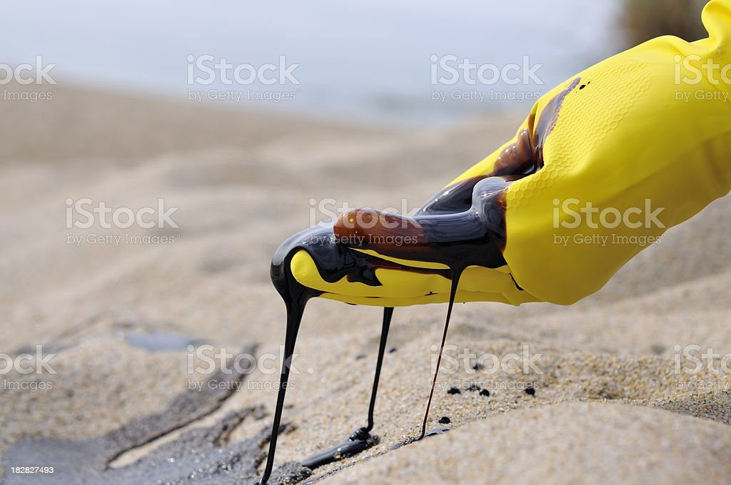 Oil Spill: Environmental Disaster stock photo