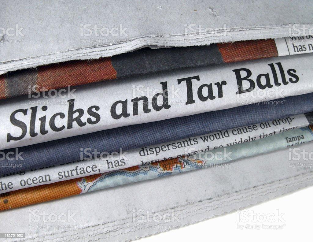 Oil Spill Headline stock photo