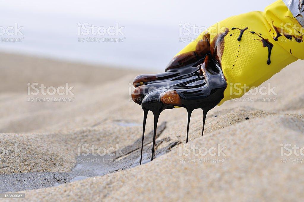 Oil Spill: Heart Breaking stock photo