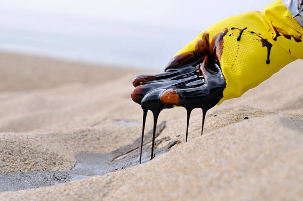 Oil Spill: Heart Breaking stock photo