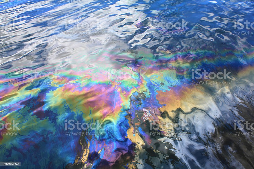 Oil spill in Pearl Harbor stock photo