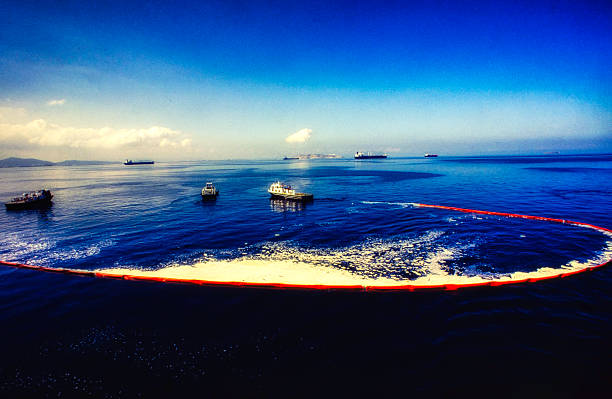 Oil Spill Recovery 3 Oil spill recovery in the sea environmental cleanup stock pictures, royalty-free photos & images