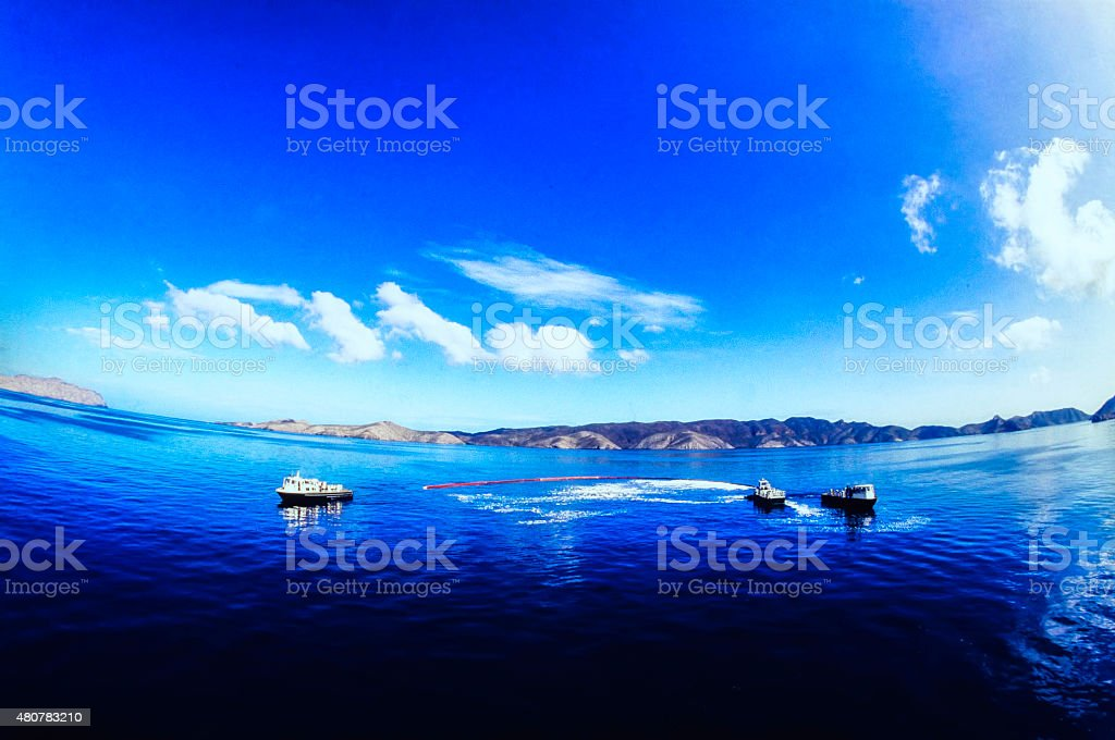 Oil Spill Recovery In Open Sea stock photo