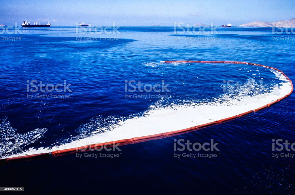 Oil Spill Recovery In The Sea stock photo
