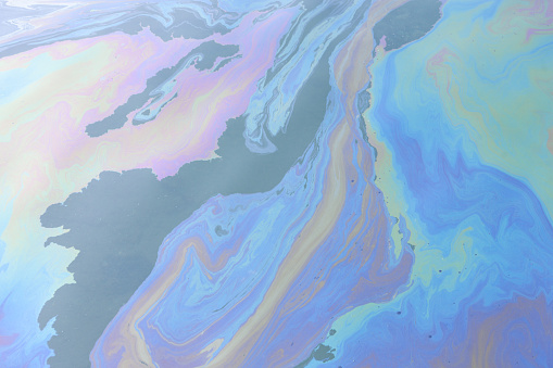 Oil Spill Slick Toxic Pollution On The Sea Water Stock ...