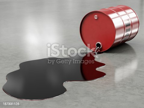 A leaking red oil barrel isolated on a white background. Very high resolution 3D render.