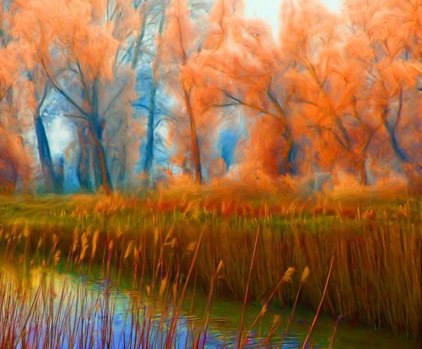 öl-feder-landschaftsmalerei - waldmalerei stock-fotos und bilder