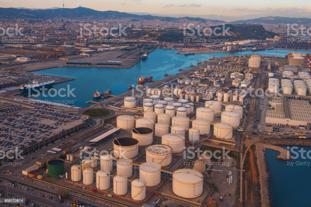 Oil storage and port in Barcelona, Spain stock photo