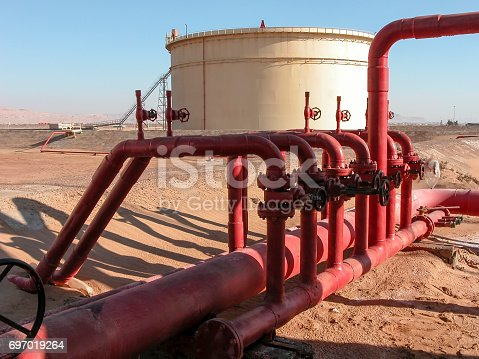 Oil Storage Tank and Pipework in Facility in Sinai