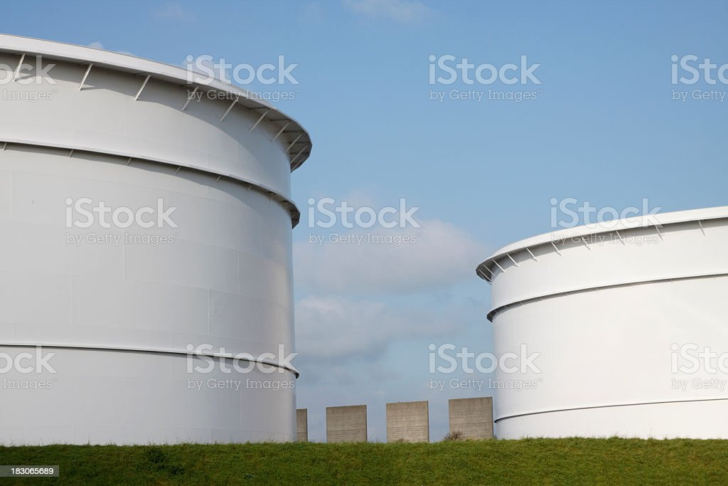 Oil Storage Tank in port of Rotterdam, The Netherlands stock photo