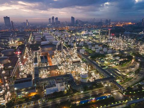 Oil Storage tank in the port in bangkok thailand