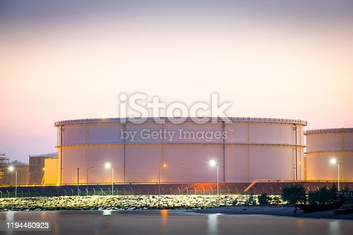 Large oil storage tank in the refinery plant
