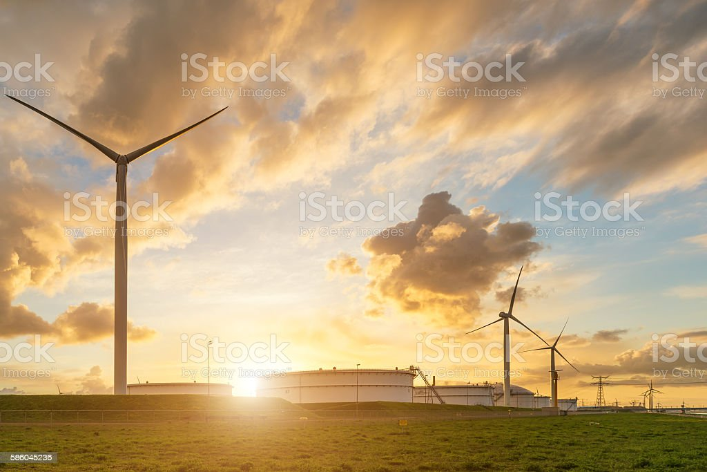 Oil storage tank windmill in morning at Rotterdam ,Netherlands. stock photo