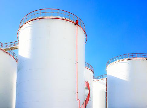 Oil storage tanks in the refinery area