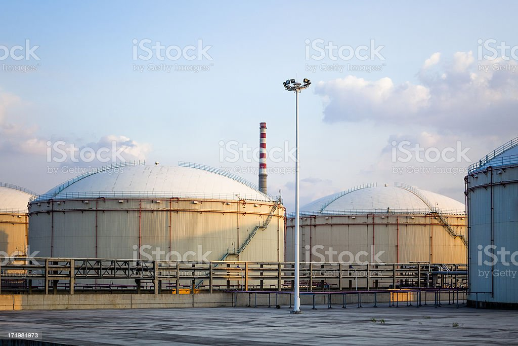 Oil Storage Tanks Stock Photo & More Pictures of Air