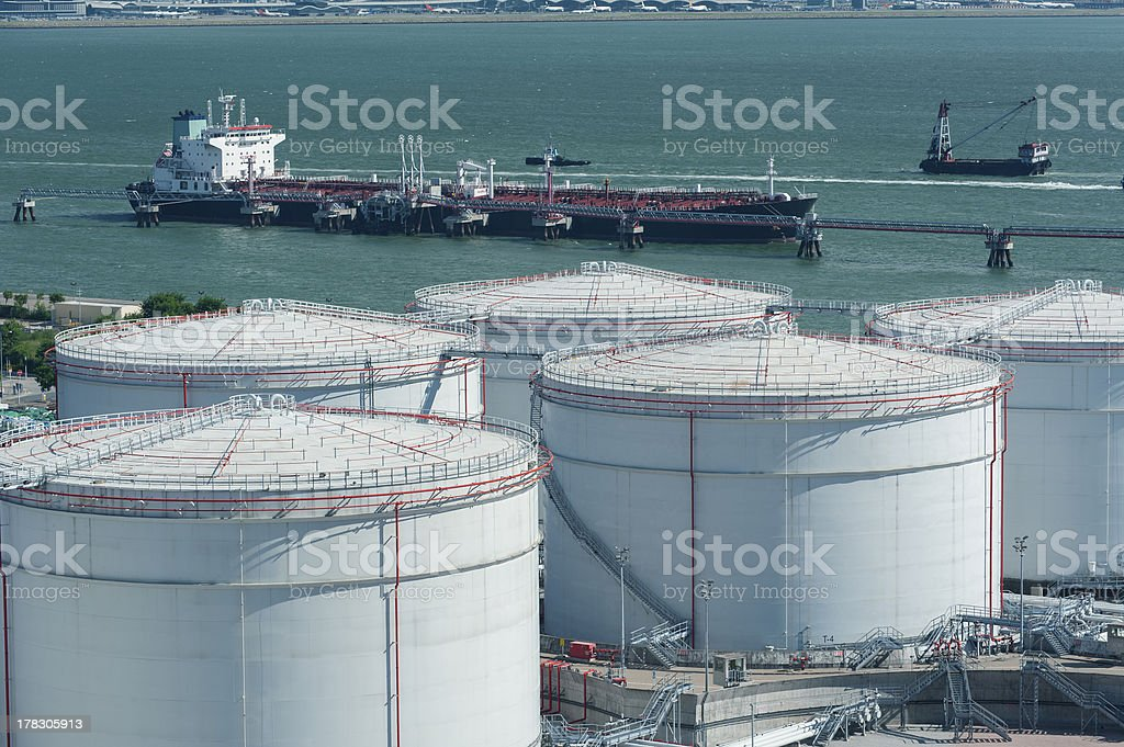 Oil Storage tanks stock photo