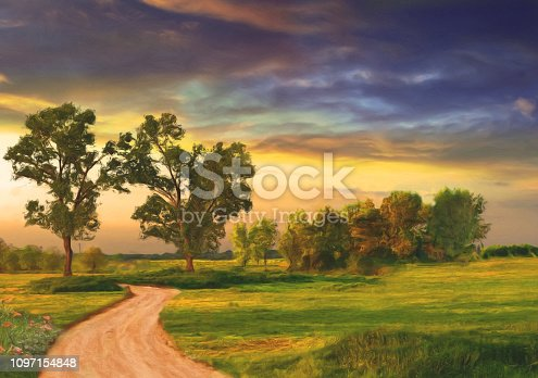 Landscape painting showing green meadows, trees and country road on a spring day.
