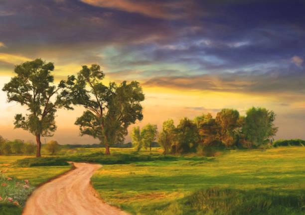 yağ yaz manzara resim - yağlı boya resim stok fotoğraflar ve resimler