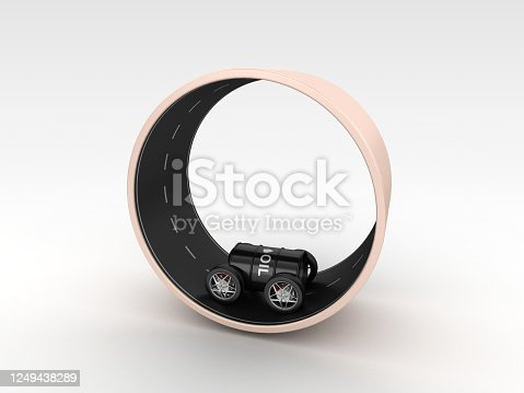 Oil Tank Box on Wheels on Circular Road - 3D Rendering