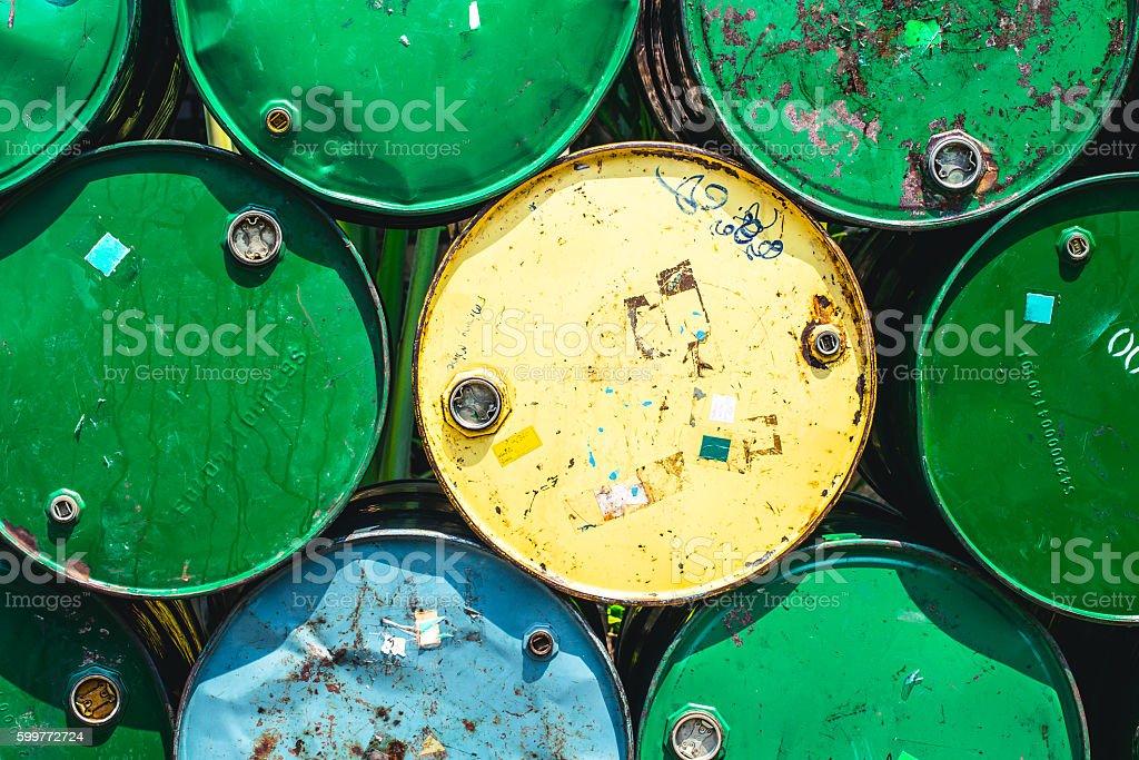 Oil Tank Old Grunge Dirt Feeling Danger of Industrial Chemical. stock photo