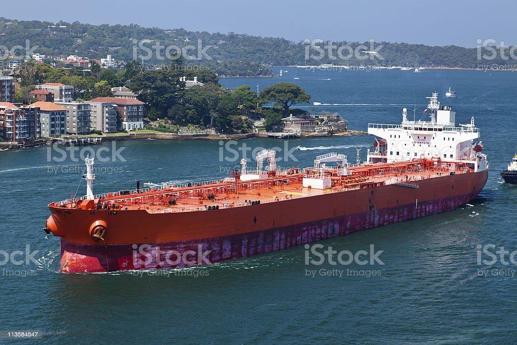 Oil tanker entering Sydney Harbour royalty-free stock photo