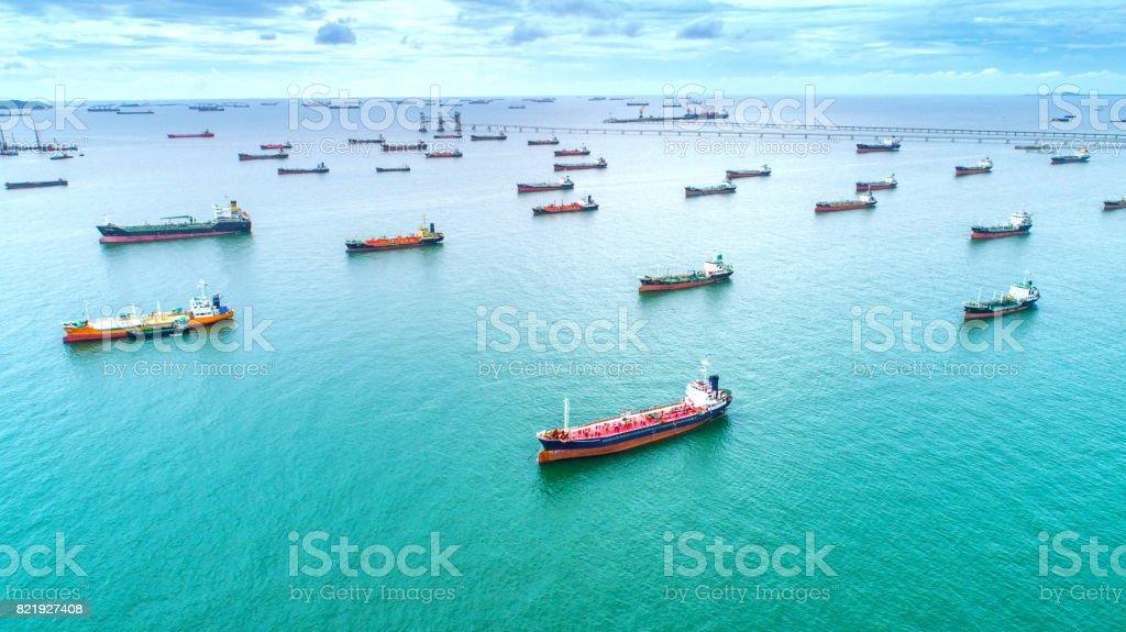 petrolero, cisterna para gases en alta mar. - foto de stock