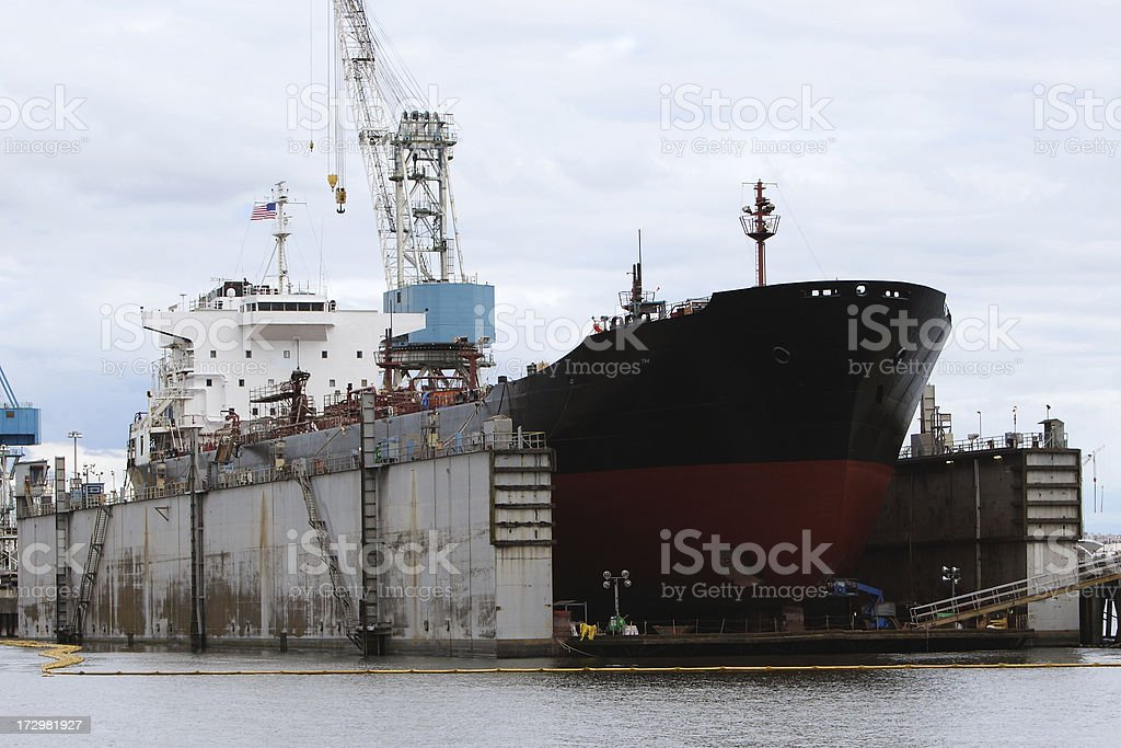 Oil Tanker in Dry Dock stock photo