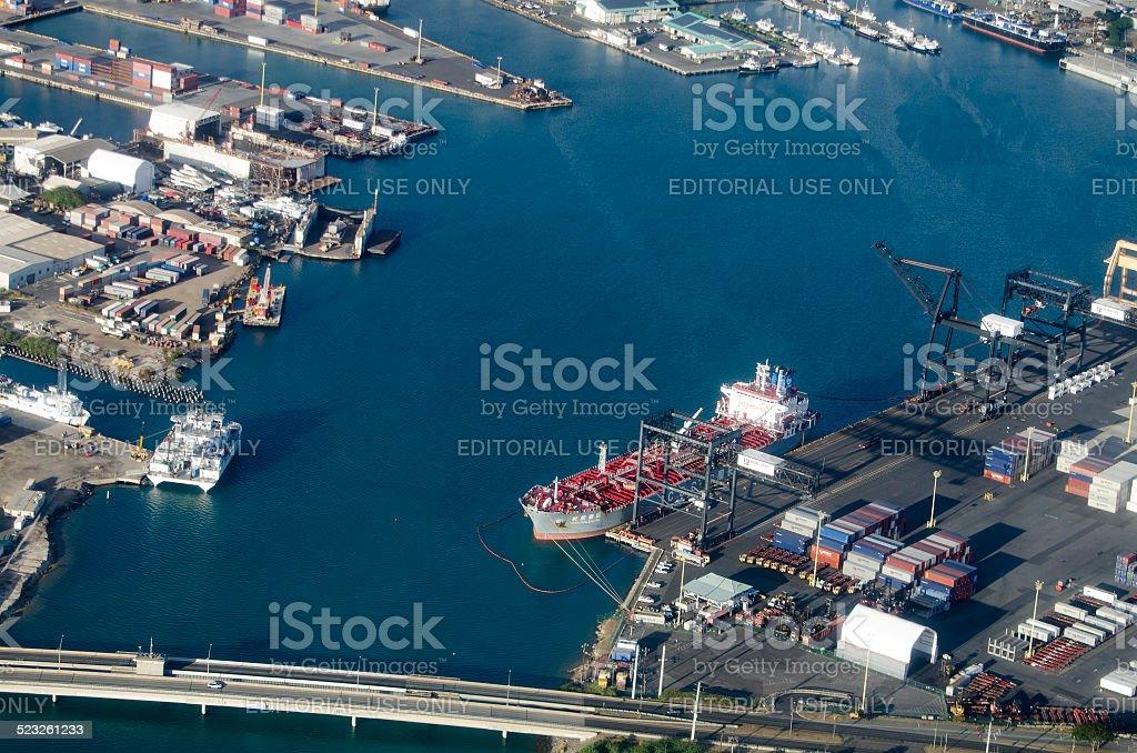 oil tanker in Nawiliwili Harbor Kauai stock photo
