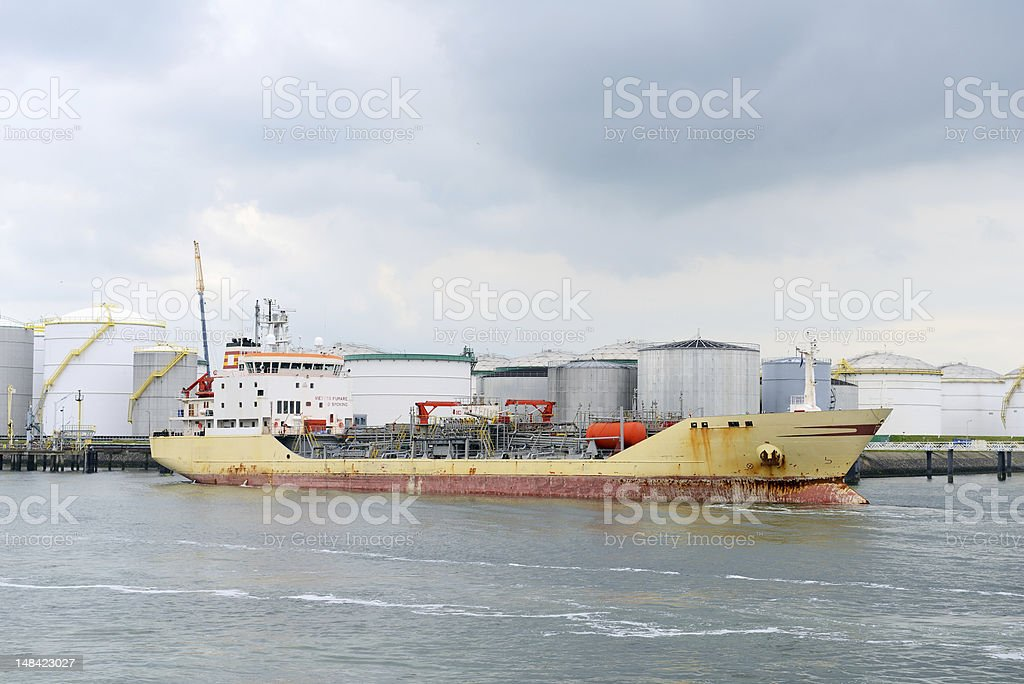 oil tanker in the port of rotterdam royalty-free stock photo