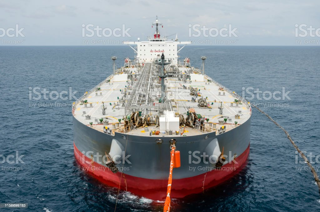 Oil Tanker Is Transferring Supply To The Oil Vessel Stock