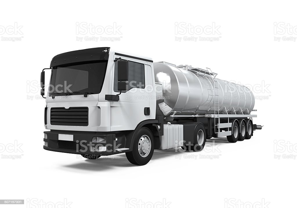 Oil tanker isolated on white background stock photo