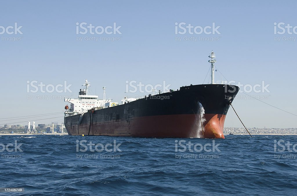 Oil Tanker off Southern California Coast royalty-free stock photo
