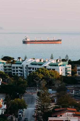 oil tanker on ocean, captured in Cascais, Portugal