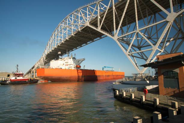 Oil Tanker Passing Under the Corpus Christi Harbor Bridge stock photo