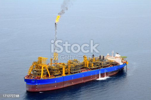 Aerial photo of an FPSO Oil Tanker off the coast of Africa.