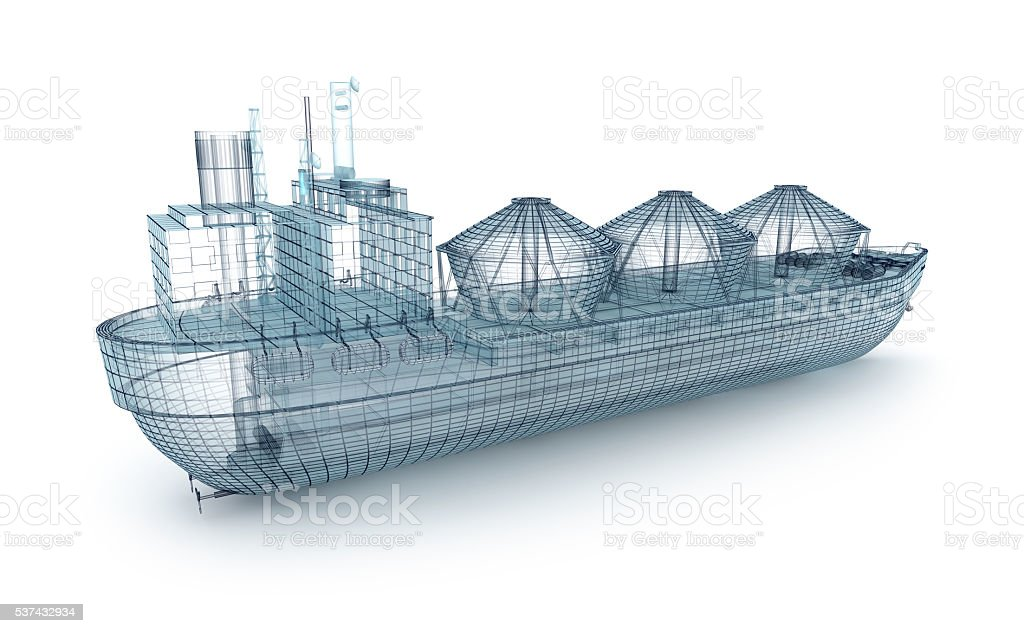 Oil tanker ship wire model isolated on white. stock photo