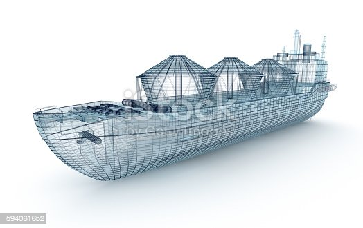 istock Oil tanker ship wire model isolated on white. 594061652