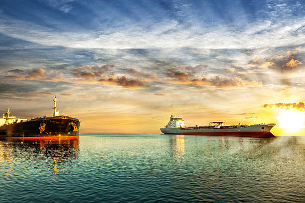 Oil tanker ships riding at anchor stock photo
